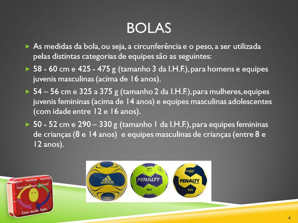 BOLAS As medidas da bola, ou seja, a circunferência e o peso, a ser utilizada pelas distintas categorias de equipes são as seguintes: