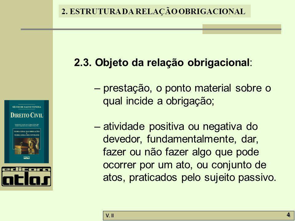 2.3. Objeto da relação obrigacional: