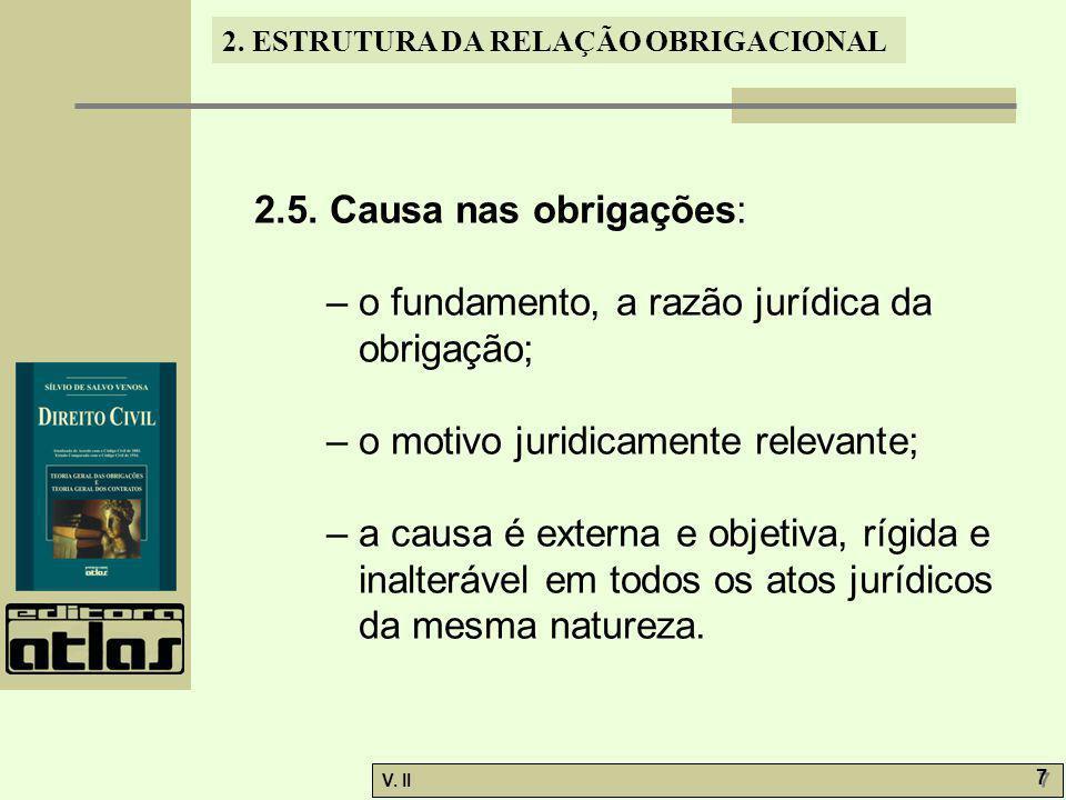 2.5. Causa nas obrigações: – o fundamento, a razão jurídica da obrigação; – o motivo juridicamente relevante;