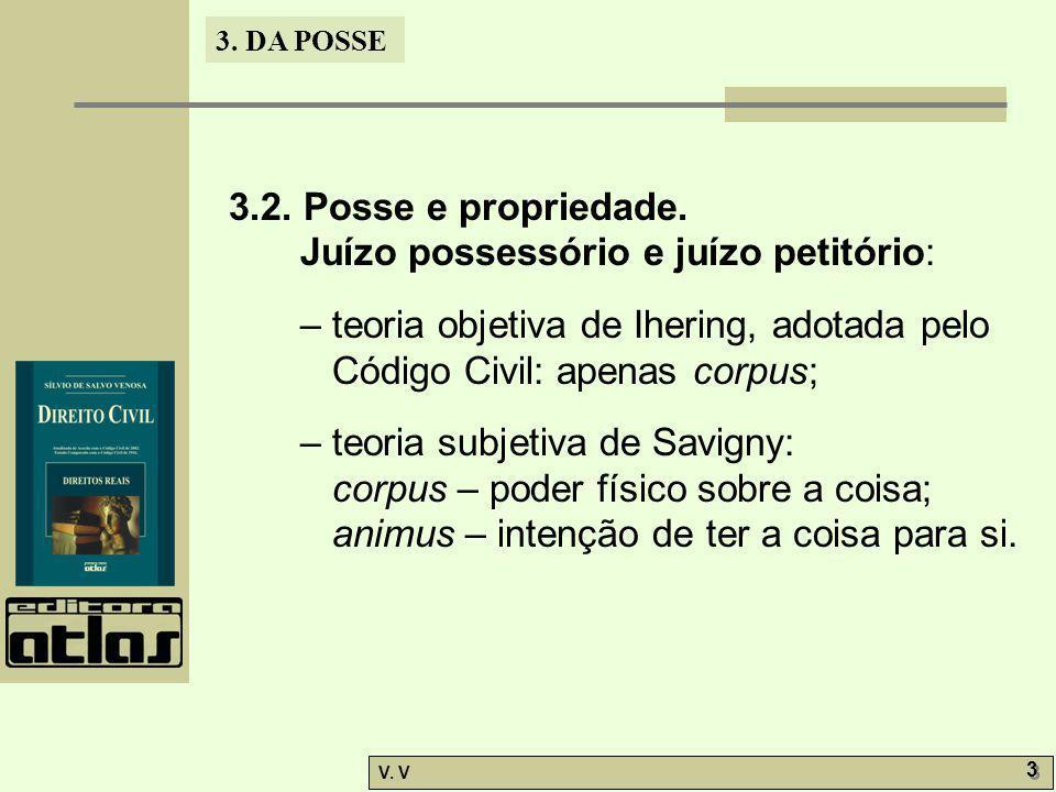 3.2. Posse e propriedade. Juízo possessório e juízo petitório: – teoria objetiva de Ihering, adotada pelo Código Civil: apenas corpus;