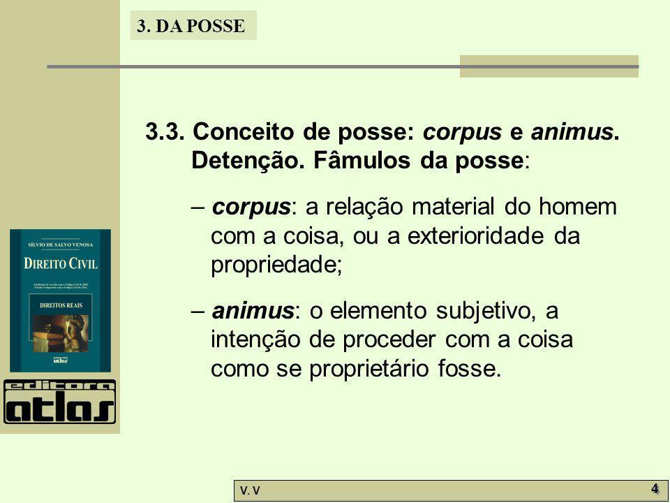 3.3. Conceito de posse: corpus e animus. Detenção. Fâmulos da posse: