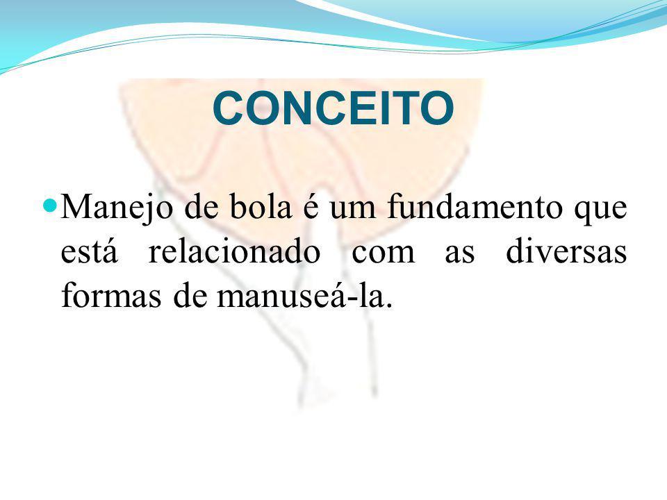 CONCEITO Manejo de bola é um fundamento que está relacionado com as diversas formas de manuseá-la.