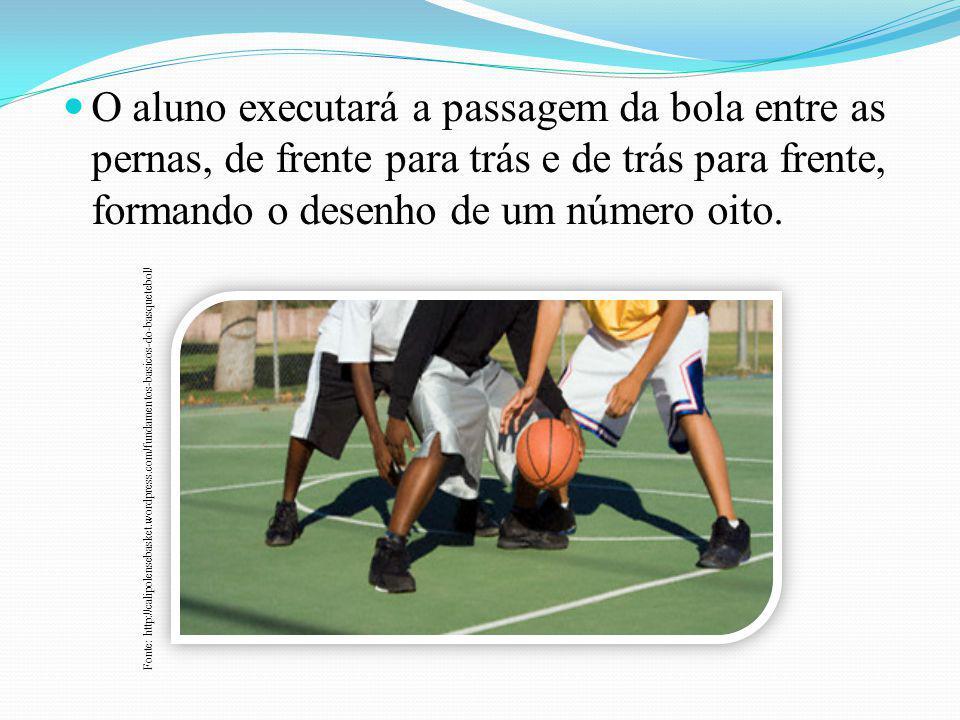O aluno executará a passagem da bola entre as pernas, de frente para trás e de trás para frente, formando o desenho de um número oito.