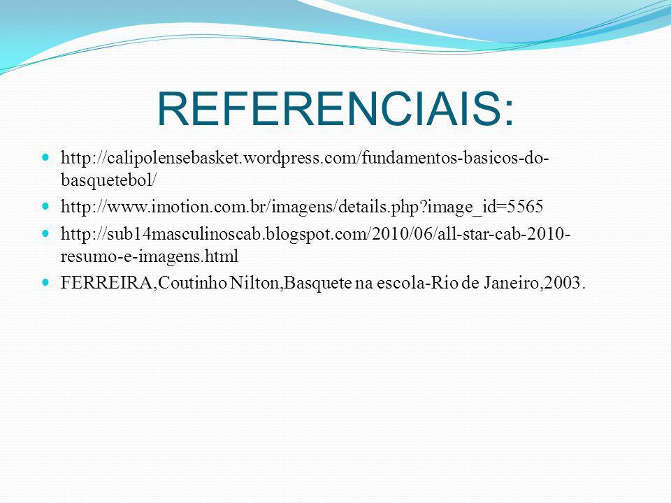 REFERENCIAIS: http://calipolensebasket.wordpress.com/fundamentos-basicos-do-basquetebol/ http://www.imotion.com.br/imagens/details.php image_id=5565.