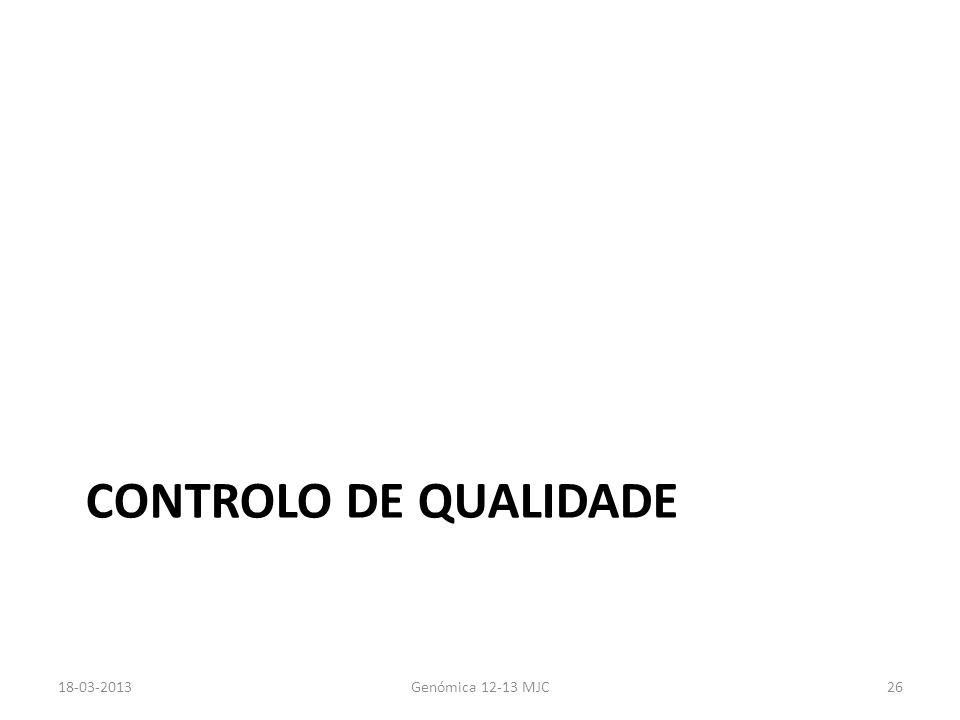 Controlo de qualidade 18-03-2013 Genómica 12-13 MJC