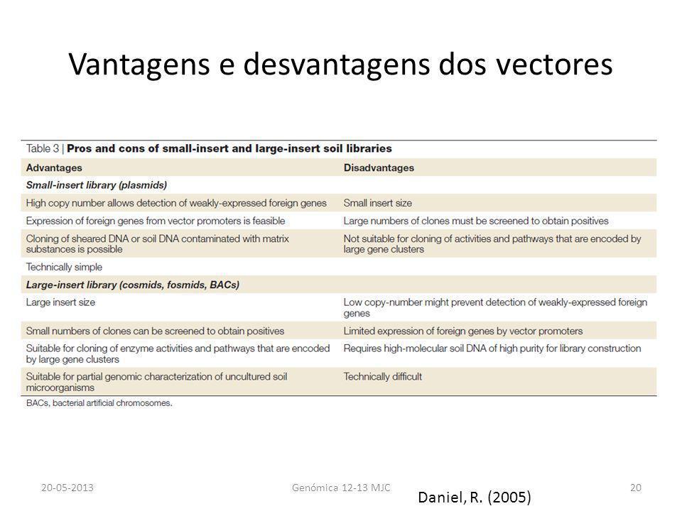 Vantagens e desvantagens dos vectores