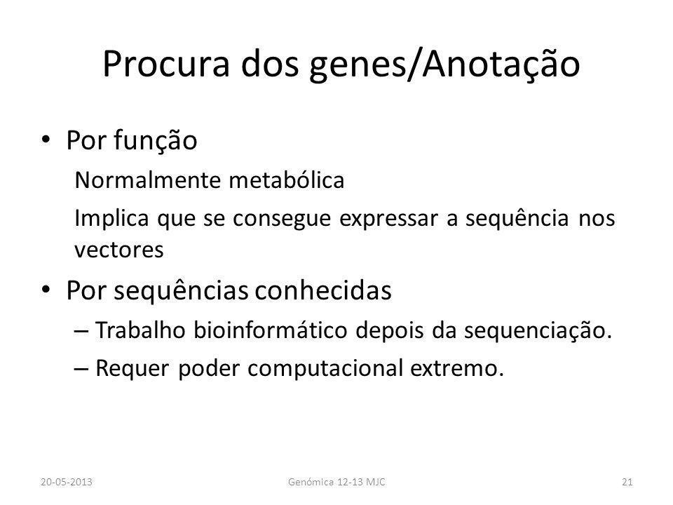 Procura dos genes/Anotação