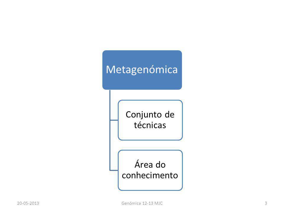 Metagenómica Conjunto de técnicas Área do conhecimento 20-05-2013