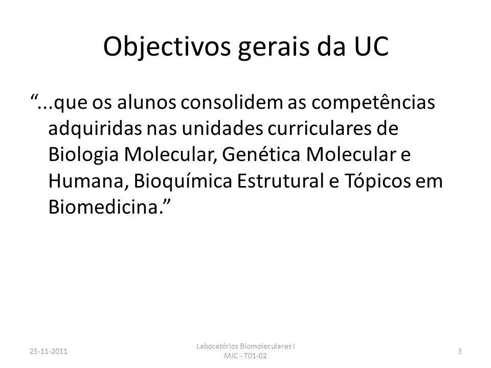 Objectivos gerais da UC