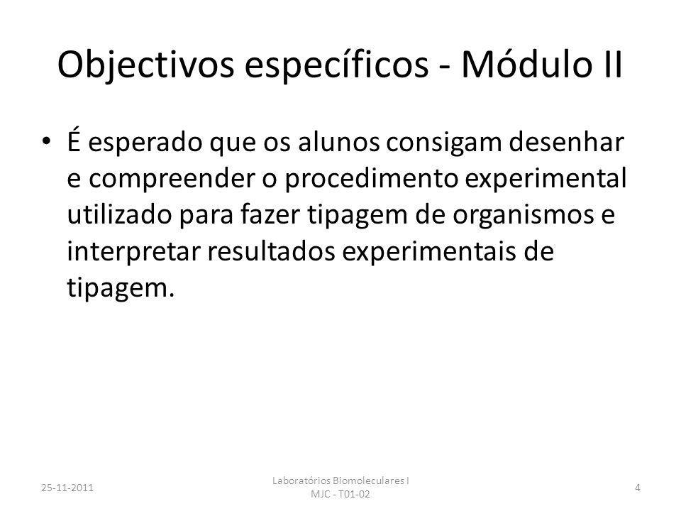 Objectivos específicos - Módulo II