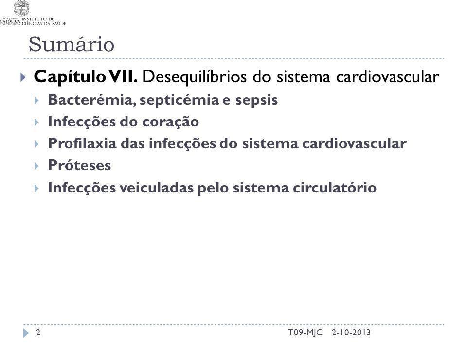 Sumário Capítulo VII. Desequilíbrios do sistema cardiovascular