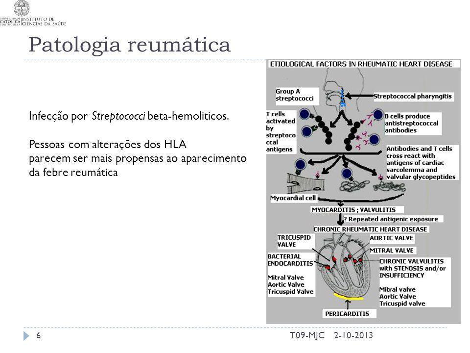 Patologia reumática Infecção por Streptococci beta-hemoliticos.