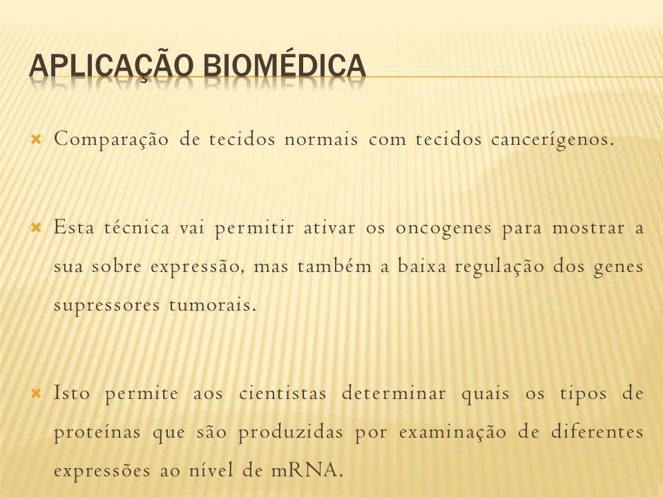 Aplicação biomédica Comparação de tecidos normais com tecidos cancerígenos.