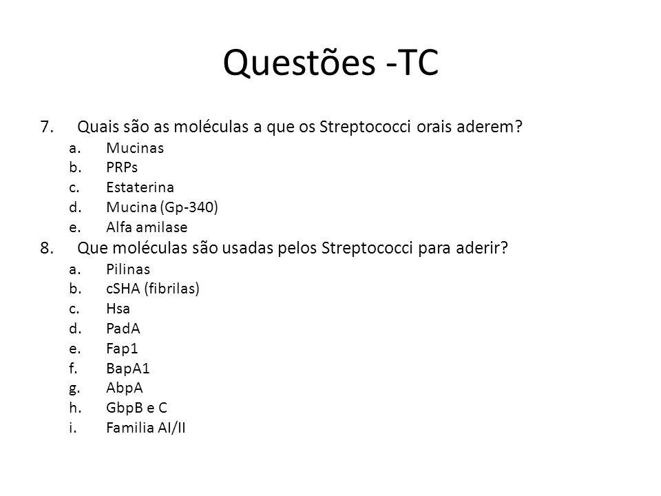 Questões -TC Quais são as moléculas a que os Streptococci orais aderem Mucinas. PRPs. Estaterina.