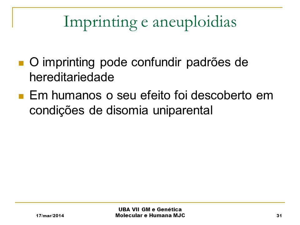 Imprinting e aneuploidias
