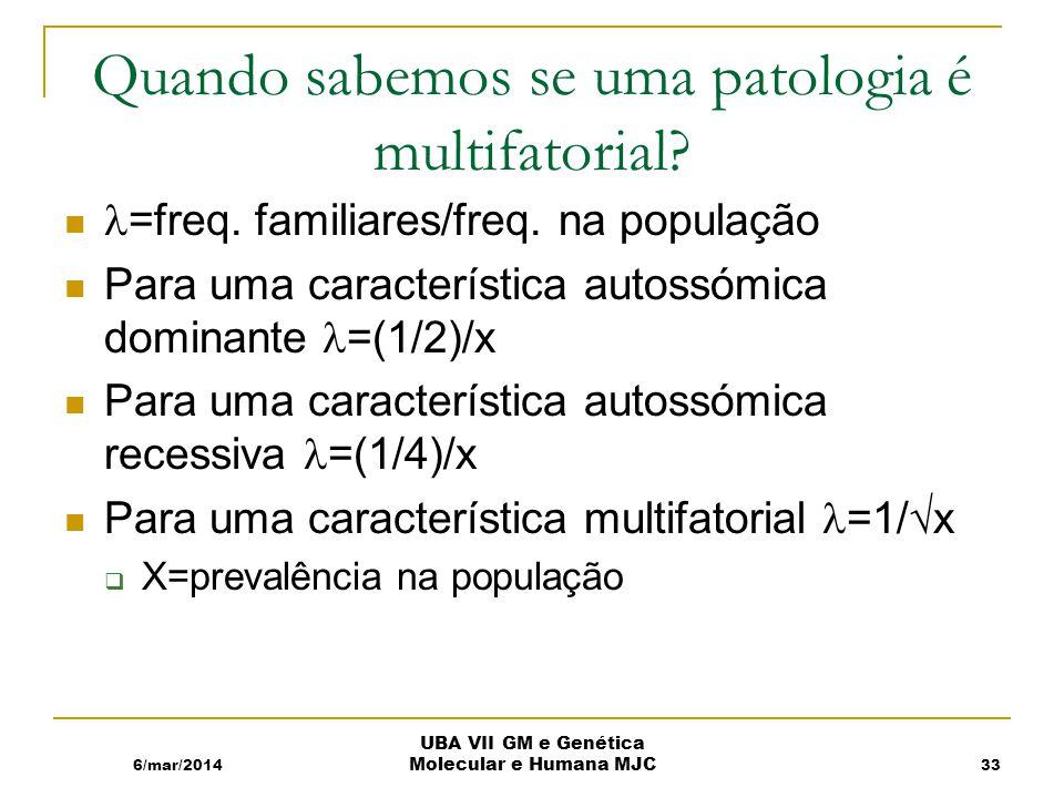 Quando sabemos se uma patologia é multifatorial