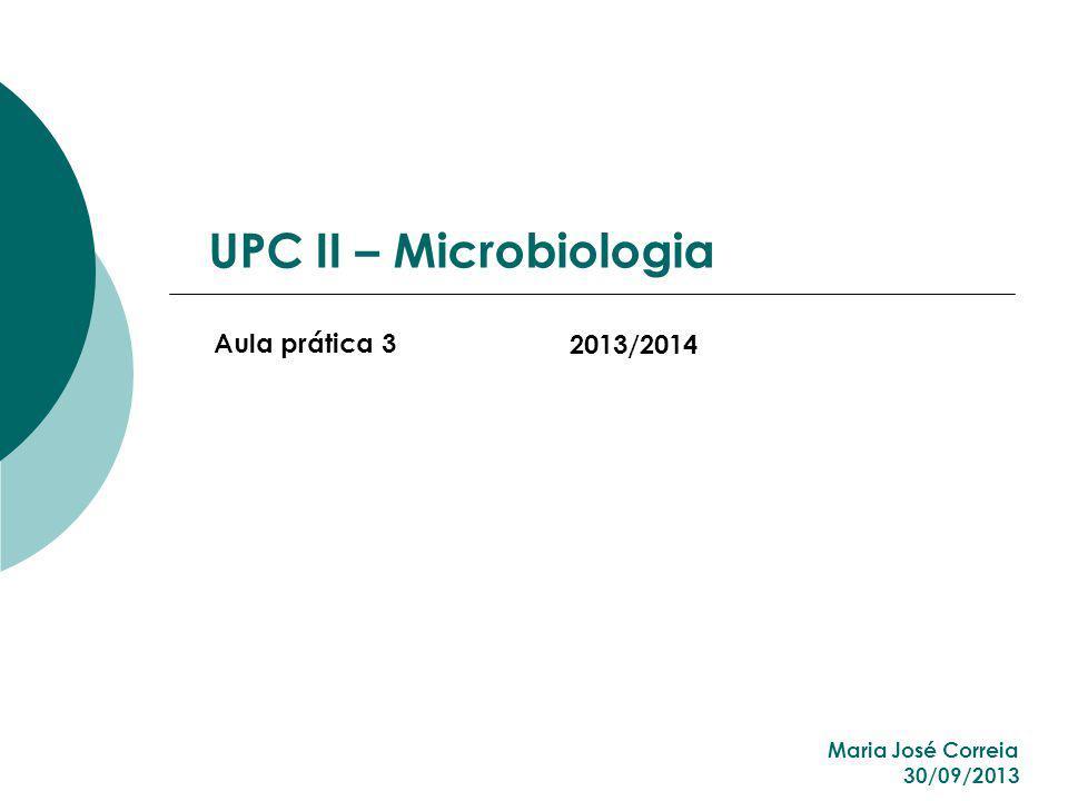 UPC II – Microbiologia Aula prática 3 2013/2014 Maria José Correia