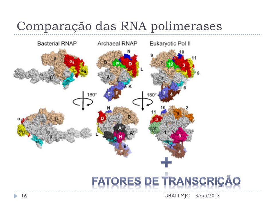 Comparação das RNA polimerases