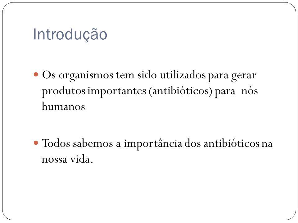 Introdução Os organismos tem sido utilizados para gerar produtos importantes (antibióticos) para nós humanos.