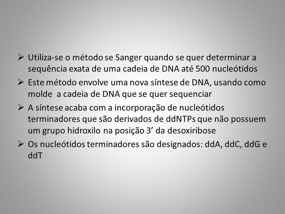 Utiliza-se o método se Sanger quando se quer determinar a sequência exata de uma cadeia de DNA até 500 nucleótidos