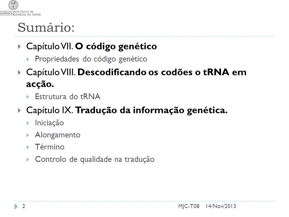 Sumário: Capítulo VII. O código genético