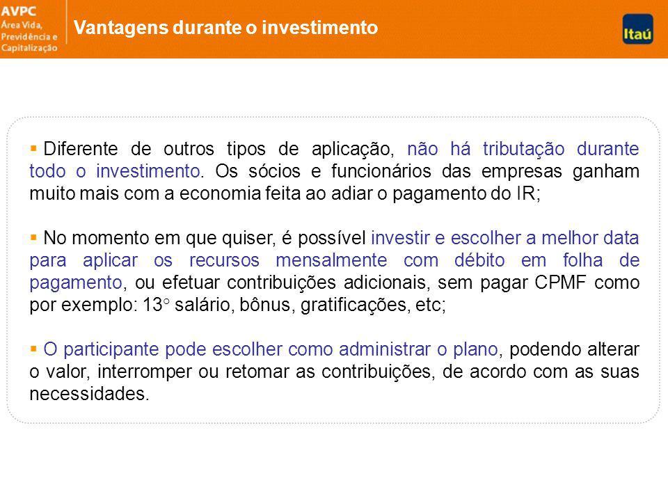Vantagens durante o investimento