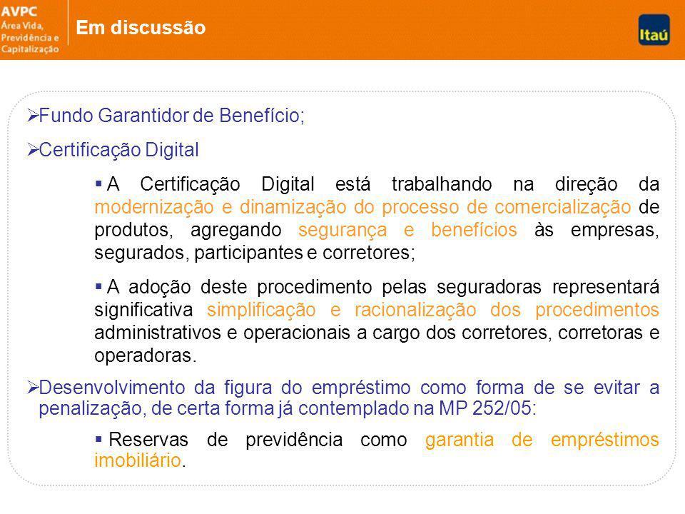 Em discussão Fundo Garantidor de Benefício; Certificação Digital.