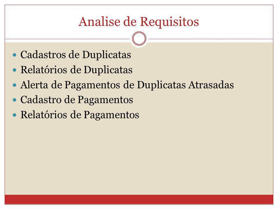 Analise de Requisitos Cadastros de Duplicatas Relatórios de Duplicatas
