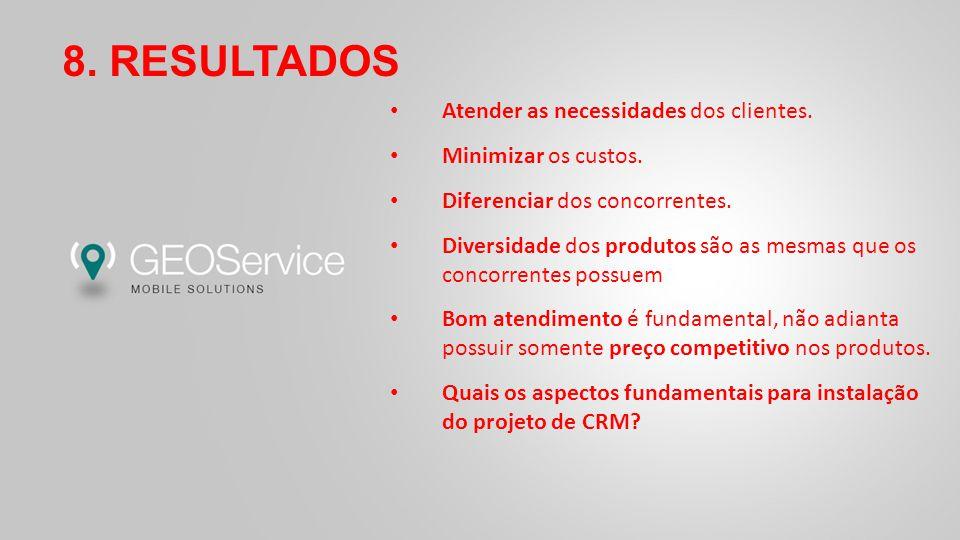 8. RESULTADOS Atender as necessidades dos clientes.