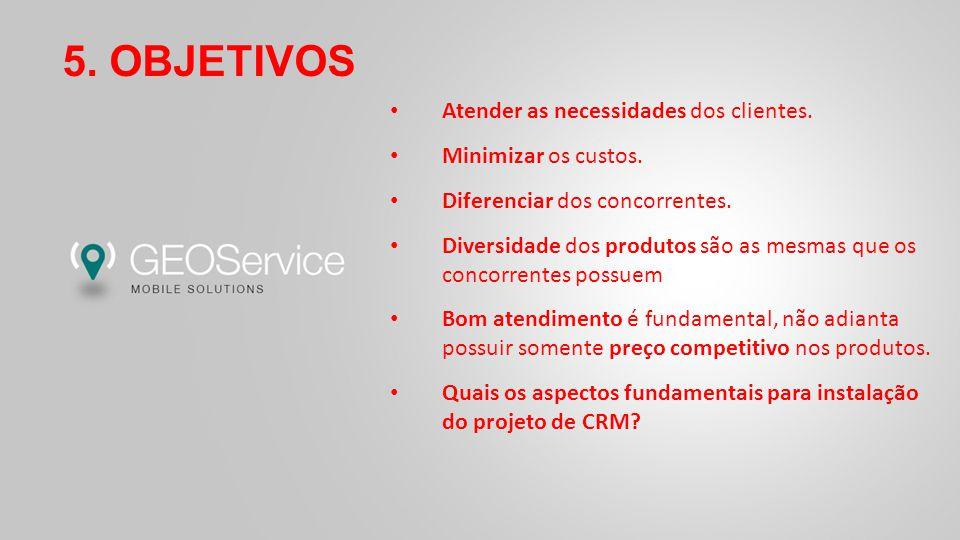 5. OBJETIVOS Atender as necessidades dos clientes.