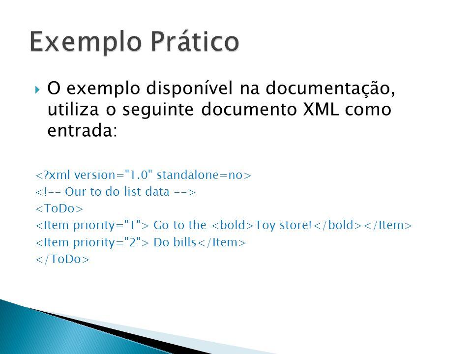 Exemplo Prático O exemplo disponível na documentação, utiliza o seguinte documento XML como entrada: