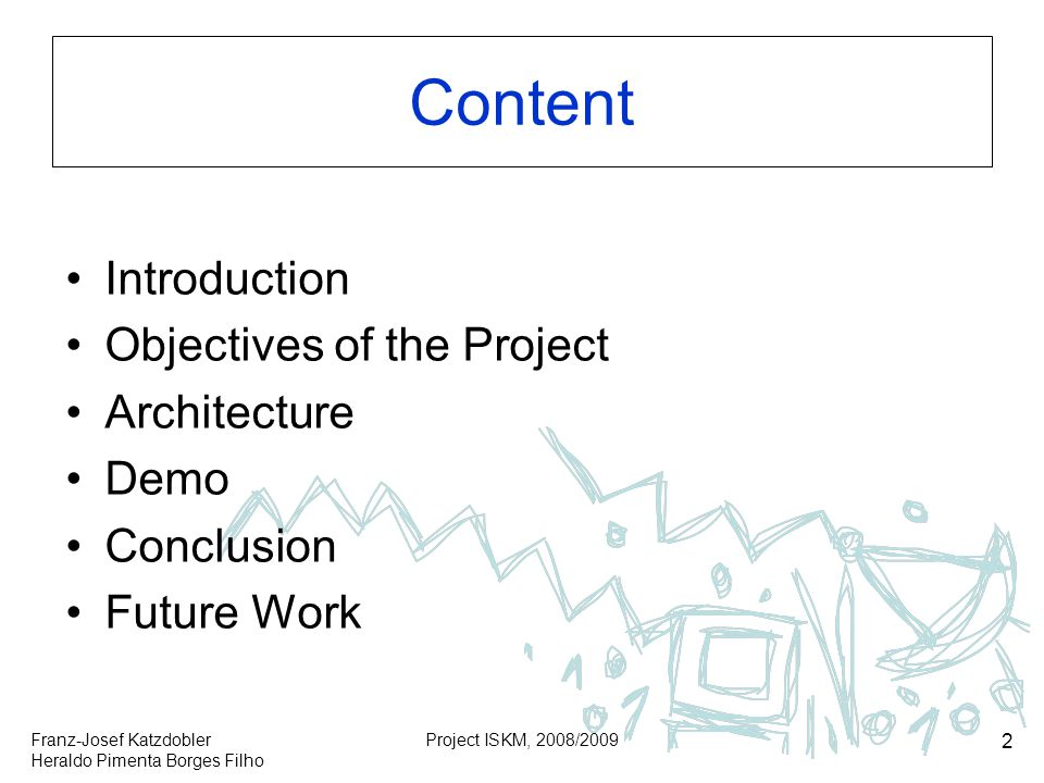 Content Introduction Objectives of the Project Architecture Demo