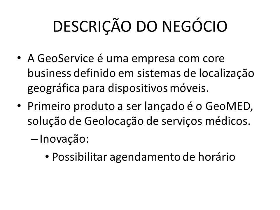 DESCRIÇÃO DO NEGÓCIO A GeoService é uma empresa com core business definido em sistemas de localização geográfica para dispositivos móveis.