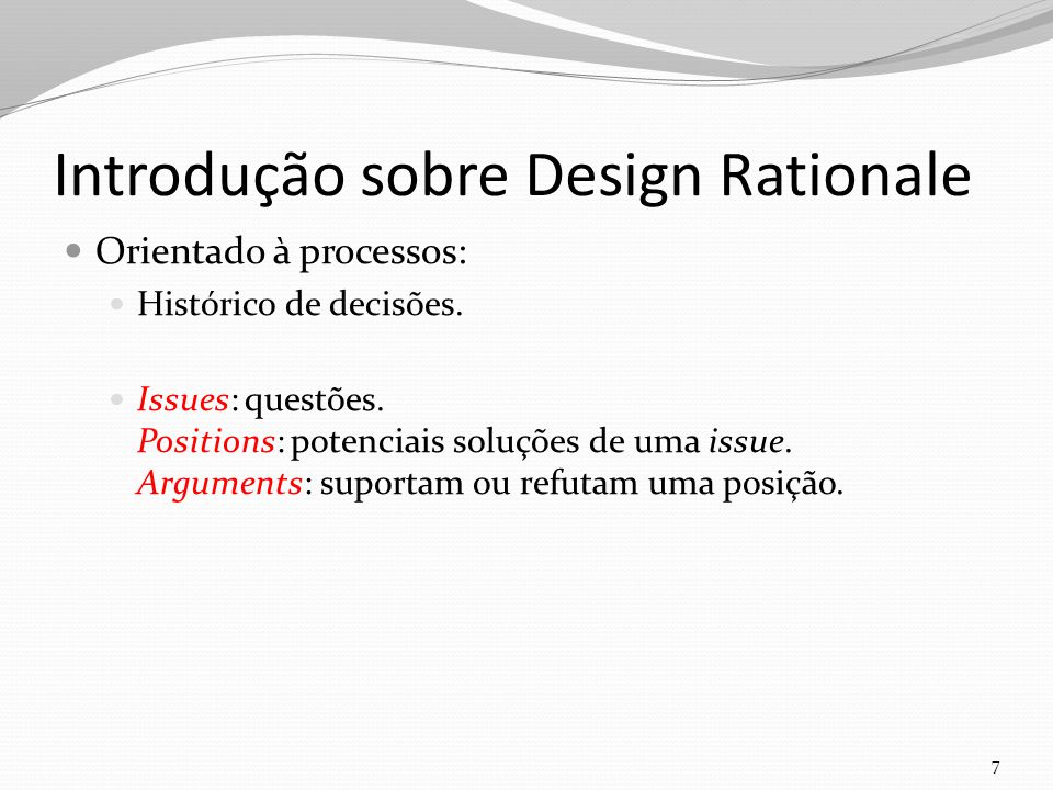 Introdução sobre Design Rationale
