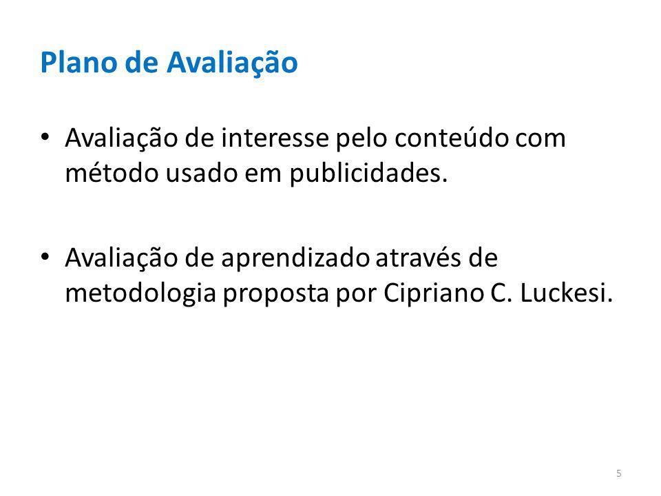 Plano de Avaliação Avaliação de interesse pelo conteúdo com método usado em publicidades.