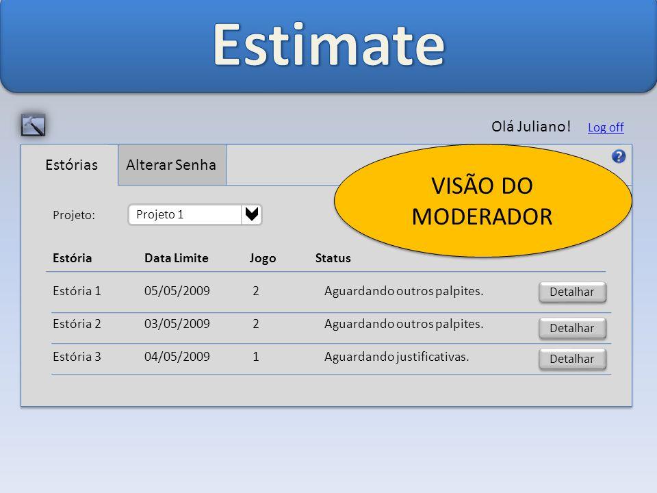 Estimate VISÃO DO MODERADOR Olá Juliano! Alterar Senha Estórias