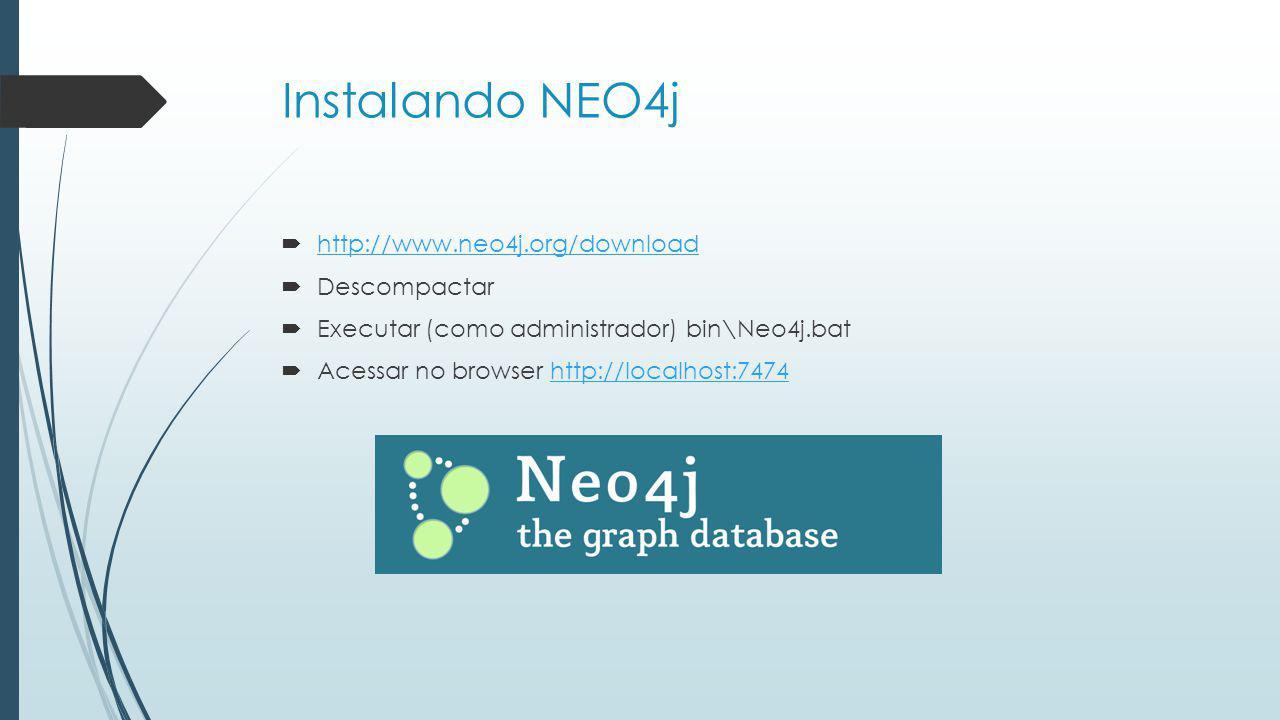 Instalando NEO4j http://www.neo4j.org/download Descompactar
