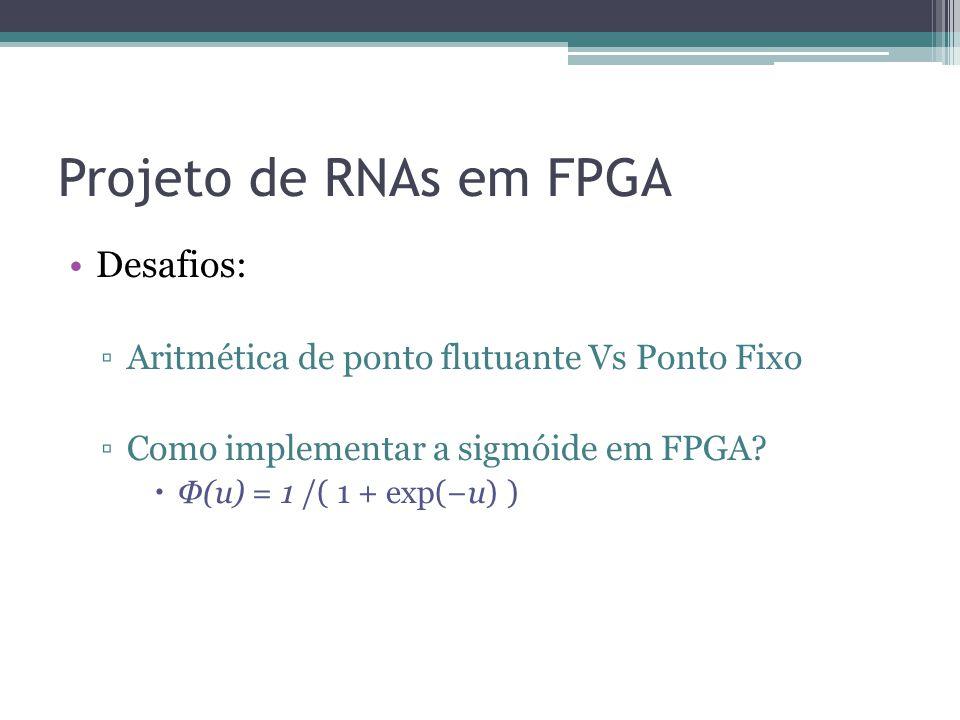 Projeto de RNAs em FPGA Desafios: