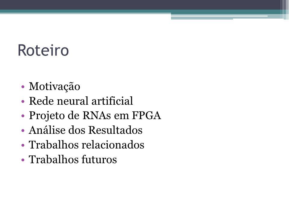 Roteiro Motivação Rede neural artificial Projeto de RNAs em FPGA