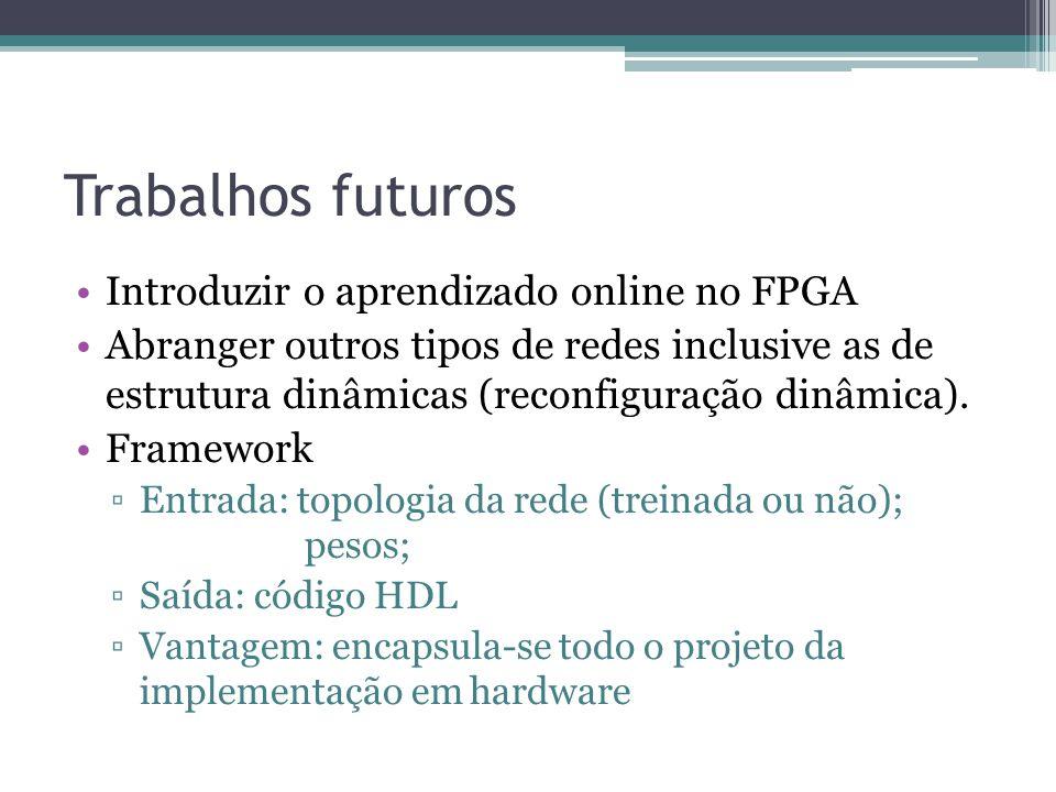 Trabalhos futuros Introduzir o aprendizado online no FPGA