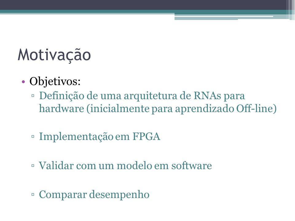 Motivação Objetivos: Definição de uma arquitetura de RNAs para hardware (inicialmente para aprendizado Off-line)