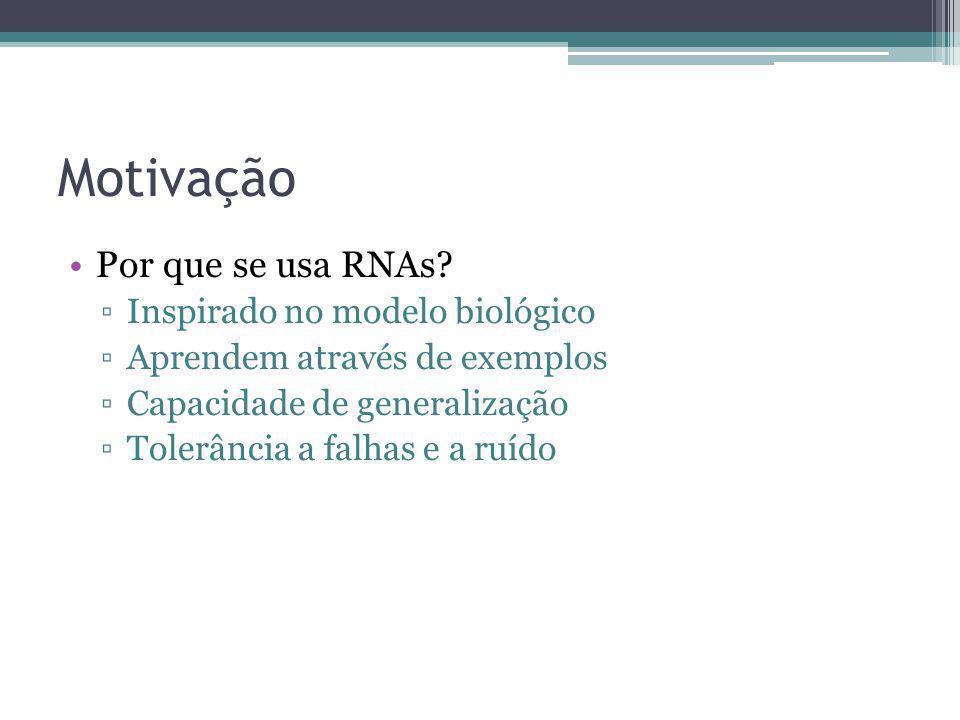 Motivação Por que se usa RNAs Inspirado no modelo biológico