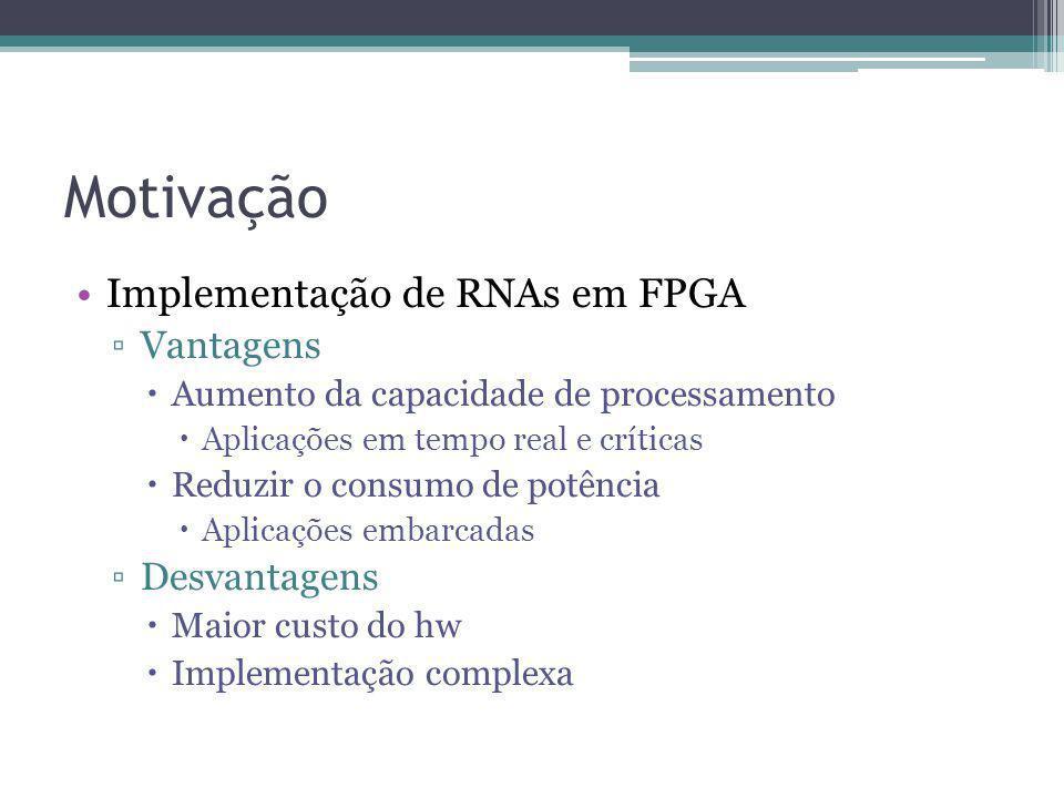 Motivação Implementação de RNAs em FPGA Vantagens Desvantagens