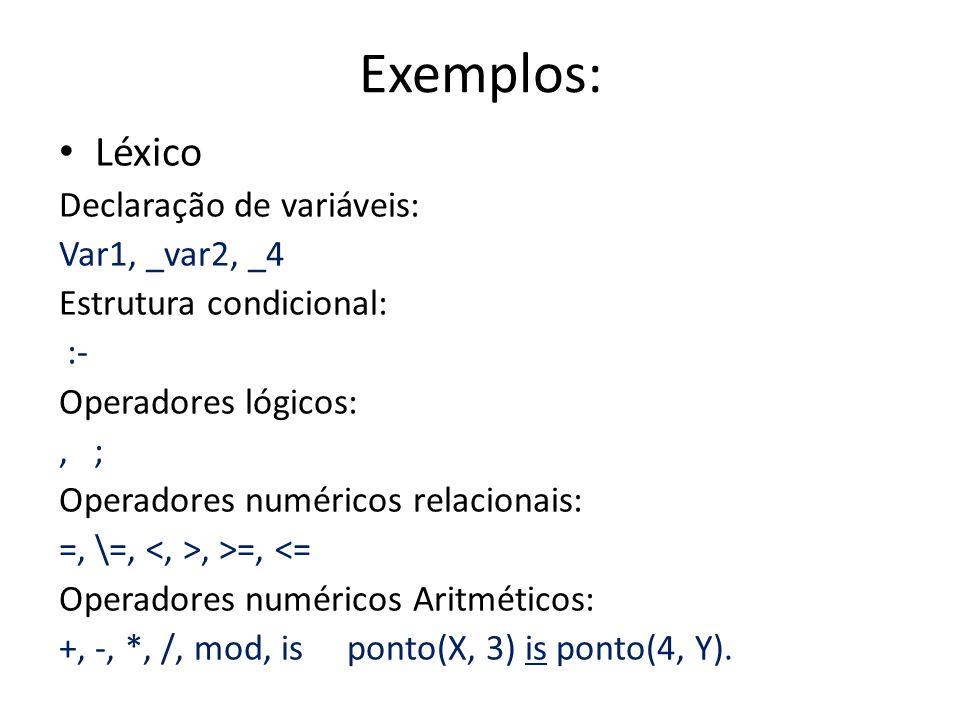Exemplos: Léxico Declaração de variáveis: Var1, _var2, _4