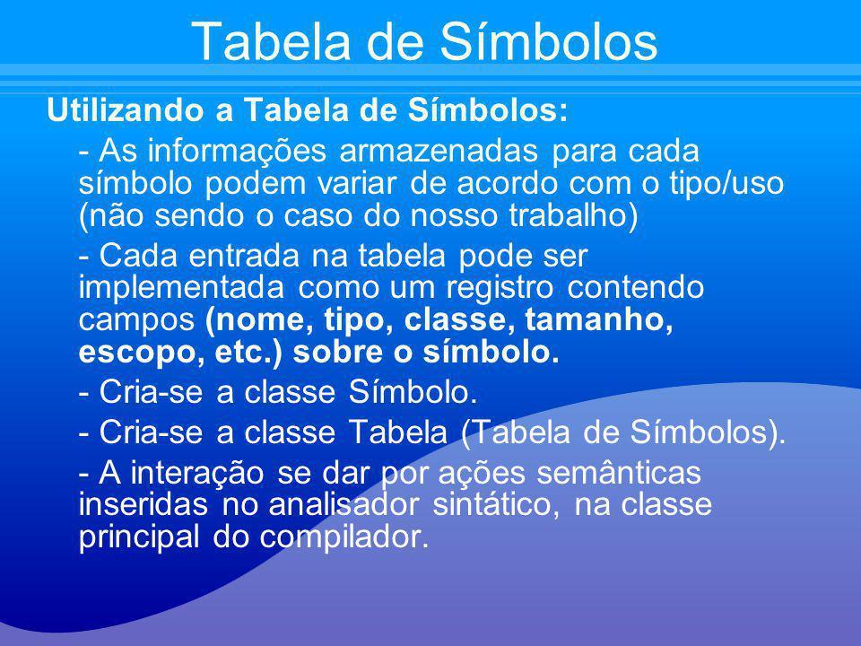 Tabela de Símbolos Utilizando a Tabela de Símbolos: