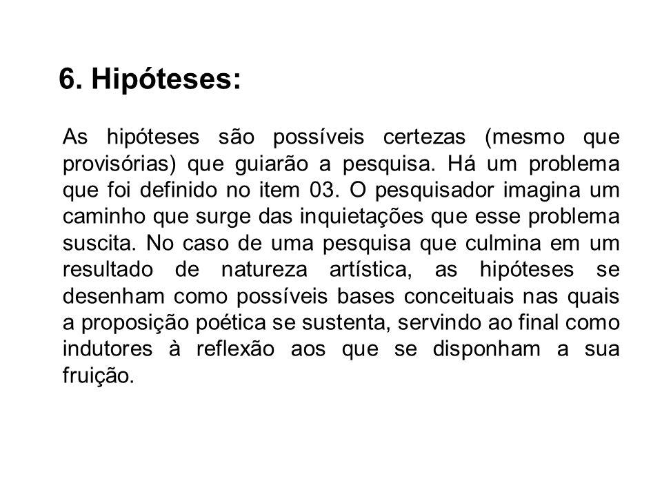 6. Hipóteses: