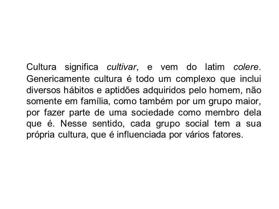 Cultura significa cultivar, e vem do latim colere