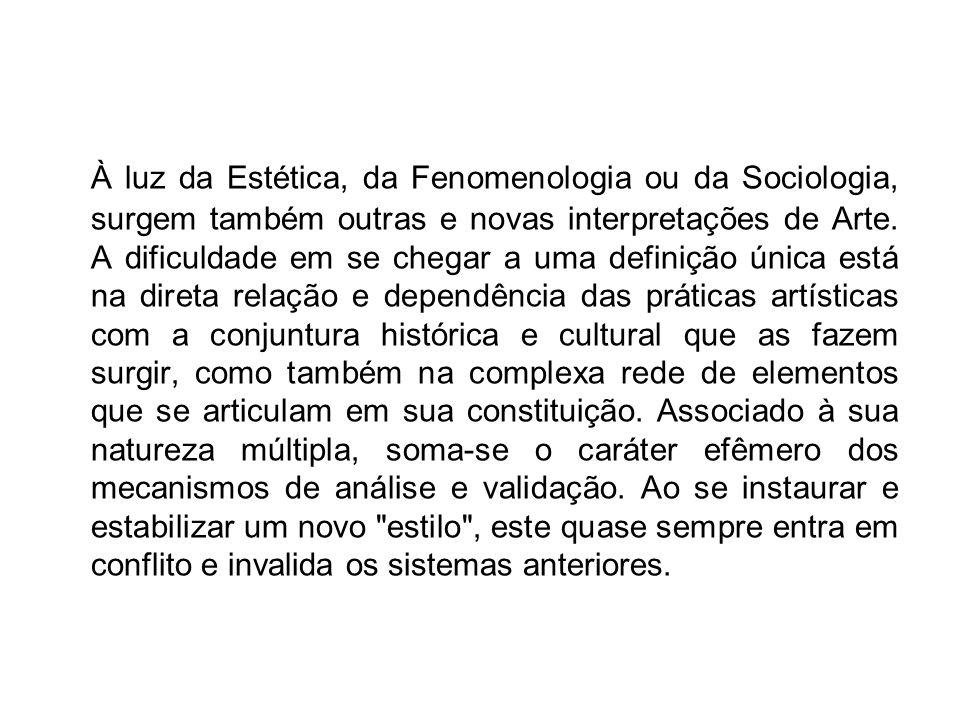 À luz da Estética, da Fenomenologia ou da Sociologia, surgem também outras e novas interpretações de Arte.