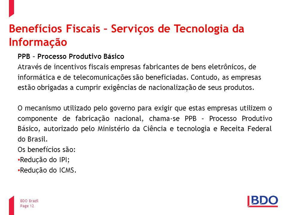 Benefícios Fiscais – Serviços de Tecnologia da Informação