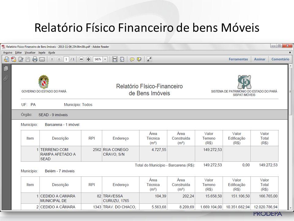Relatório Físico Financeiro de bens Móveis